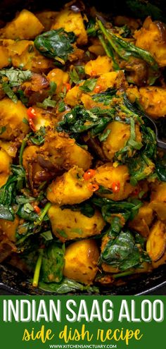 Saag aloo makes a great side dish for curry night, or a delicious and filling lunch by itself. I like to add a bit of chilli heat to mine, plus a dash of stock - which works together with the ghee and spices to create an amazing aromatic sauce that clings to the potatoes and spinach. #saagaloo #indiansidedish #indianrecipes #currynight Potato Recipes, Lunch Recipes, Great Recipes, Favorite Recipes, Indian Side Dishes, Main Dishes, Saag, Indian Food Recipes, Ethnic Recipes