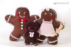 Nähanleitung für weihnachtliche Lebkuchenmann Familie / christmas sewing instruction for gingerbread man family via DaWanda.com