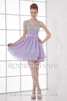 Siren Straps Sequined Short Tiered Lilac Prom Dress