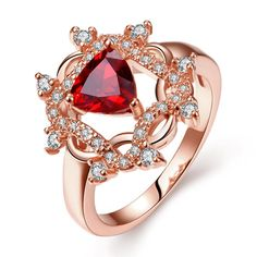 Rose Plated Roman Design Inspired Ruby Ring Size, Women's