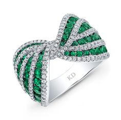*** Unbeatable savings on wonderful jewelry at http://jewelrydealsnow.com/?a=jewelry_deals *** HIGH QUALITY NATURAL COLOR 18K WHITE GOLD ROUND EMERALD BOW TIE DIAMOND BAND COMPLEMENTED WITH ROUND WHITE DIAMONDS, FEATURES 2.73 CARAT TOTAL WEIGHT