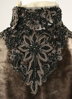 Dress, 1882, American, silk and feathers. Back collar detail.