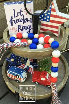 Fourth Of July Decor, 4th Of July Decorations, July 4th, 4th Of July Wreath, Xmas Lights, Tiered Stand, Beaded Garland, Tray Decor, Independence Day