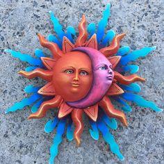 Sun and Moon Sculpture Moon Decor, Sun Tzu, Sun Moon Stars, Beautiful Flowers Wallpapers, Moon Art, Flower Wallpaper, Metallic Paint, Metal Wall Art, Metal Sculptures