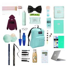 """What's in my backpack"" by amymiseli on Polyvore featuring JanSport, Speck, Victoria's Secret, France Luxe, Too Faced Cosmetics, Drybar, Maybelline, Beats by Dr. Dre, Jewel Exclusive and Eos"
