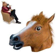 Creepy Brown Horse Head Mask - Halloween - Latex
