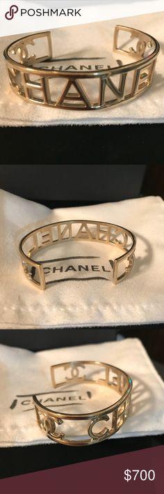 CC cutout logo gold Bracelet Bangle cuff Chanel  CC cutout logo gold Bracelet Bangle cuff  comes with box and dust bag CHANEL Jewelry Bracelets