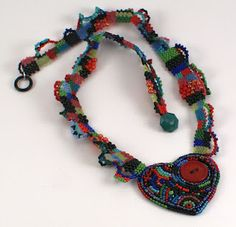 Woven and embroidered necklace by Sarah of Saturday Sequins.