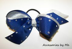 Glitzy Blue & Silver #Cheer Hair Bow Team Discounts available