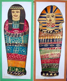 Ancient Egyptian mummies were the focus of our third grade art history unit. Students watched a Reading Rainbow, Mummies Made in Egypt, to learn about mummification. They used a template for the ...