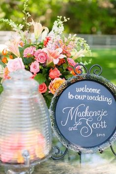 Sweet welcome sign. Photography by rachelmoorephoto.com  Read more - http://www.stylemepretty.com/2013/08/16/historic-cedarwood-wedding-from-rachel-moore-photography-2/