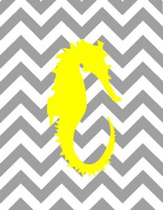 Digital Download No 053 Yellow Seahorse on Gray by TwistofOlive