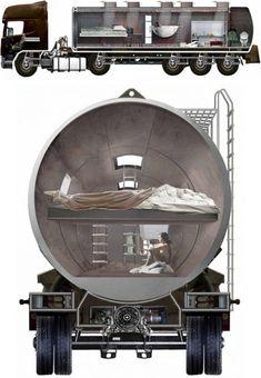 Original vivienda sostenible en un camión cisterna