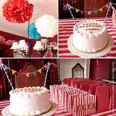 Circus Birthday Bunting Cake! @Lisa Phillips-Barton Gambold. Love all of this! I know where we can get those popcorn bags too!