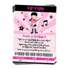 PRINTABLE Boy or Girl Rock Star Party Invitation  2 by daysigns, $12.00