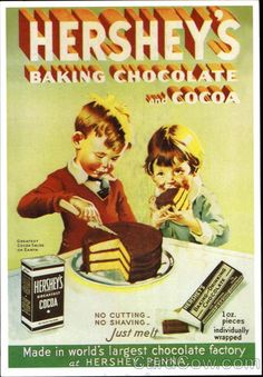 40 Vintage (Retro) Advertisements for Inspiration hershey's advertisement I have a Recipe Book with same boy and girl with out Cocoa box or Baking chocolate on it and it is dated Karen Posters Vintage, Vintage Advertising Posters, Old Advertisements, Vintage Prints, Advertising Design, Advertising History, Advertising Campaign, Retro Vintage, Retro Ads