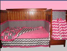 Baby Girl Crib Bedding pink & grey chevron/polka by KeepingItCute