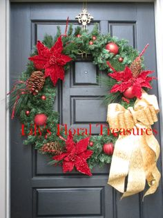 Poinsettia X-Large Christmas Wreath  (image only)
