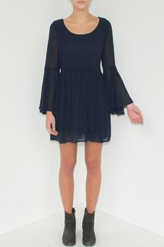 Blu Moon Navy Dress | Modern Bohemian Sheer Navy Blue Bell Sleeve Tunic Dress - Velvet Moon | a modern bohemian boutique