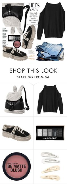 """""""Crew Neck Cold Shoulder Pullover Sweater"""" by allanaaa11 ❤ liked on Polyvore featuring Kitsch"""