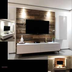 TV back wall made from our barn wood. Here each with cold and TV-Rückwand aus unserem Scheunenholz. TV back wall made from our barn wood. Here with cold and warm light. Tv Wall Design, House Design, Home Living Room, Living Room Decor, Tv Wanddekor, Tv Feature Wall, Modern Tv Wall, Living Room Tv Unit Designs, Tv Wall Decor