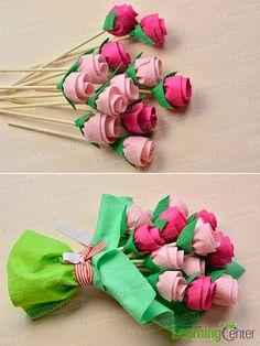 Finish the felt flower bouquet