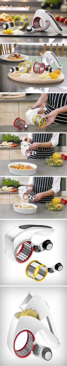 TheZyliss rotary cheese grateris fun, fast, and won't end up grating your fingertips or knuckles. As hand-held as any regular grater, it comes with a rotating wheel/drum and handle that grates cheese in a continuous rotating motion (instead of the to-fro motion of regular graters), grating cheese twice or even thrice as fast. The wheel can be flipped for left-handed or right-handed use, and comes in two sizes, for hard and soft cheeses. BUY NOW!
