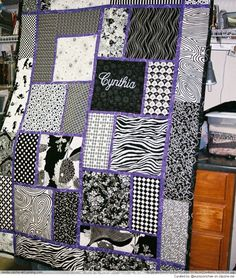 Monogramming on a quilt  Can do this to Yellow brick road blocks for a new look