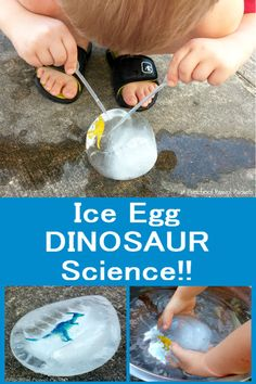 Dinosaur Ice Egg Preschool Science!  Perfect for a dinosaur theme and loads of fun for preschool, kindergarten, and homeschool!
