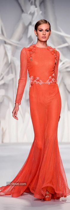 ★ Fresh Orange ★ Class never goes out of style. -  Abed Mahfouz Fall Winter 2014 Haute Couture