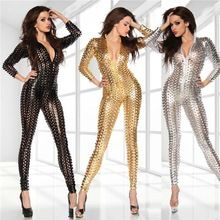 Silver Gold Black adult age Latex Hollow Out catsuit Women Fitted Racing Catwoman Catsuit Best Buy follow this link http://shopingayo.space