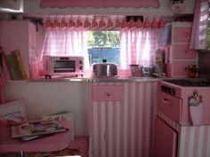 Pink camper kitchen