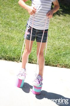A super fun, easy, and cheap project with step-by-step instructions to do with the kids. My girls loved making these things and they played for hours outside with their new stilts!
