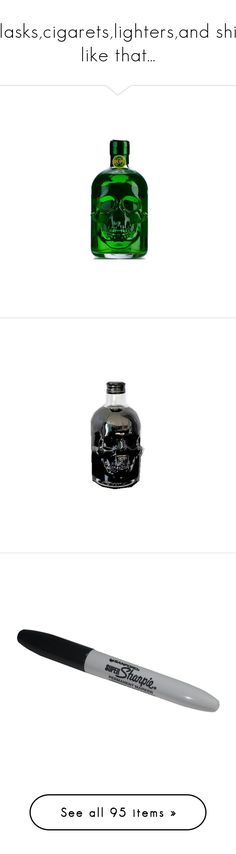 """""""flasks,cigarets,lighters,and shit like that..."""" by briana-is-hungry ❤ liked on Polyvore featuring fillers, alcohol, drinks, food, food and drink, weapons, objects, accessories, camping and backgrounds"""