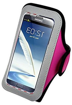 """myLife Pink, Gray and Black {Rain Resistant Velcro Secure Running Armband} Dual-Fit Jogging Arm Strap Holder for Samsung Galaxy Note 4 """"All Ports Accessible"""" myLife Brand Products http://www.amazon.com/dp/B00S7314M0/ref=cm_sw_r_pi_dp_vxaYub02JY1F9"""