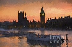 Sunset Over Westminster, London, UK by Philip Preston #London #Sunset #Westminster #BigBen #Parliament