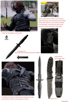 All the knives the Winter Soldier uses/carries in Captain America: The Winter Soldier I want them all...
