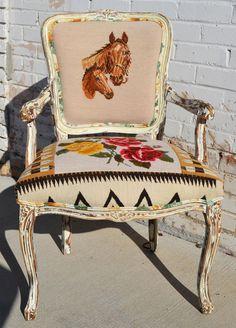 Navajo Needlepoint Horse Arm Chair   The Gypsy Wagon