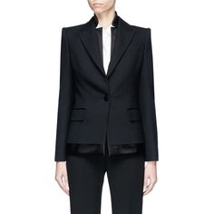 Alexander McQueen Layered lapel underlay suiting jacket (€2.370) ❤ liked on Polyvore featuring outerwear, jackets, black, alexander mcqueen, satin jacket, lapel jacket, double layer jacket and layered jacket