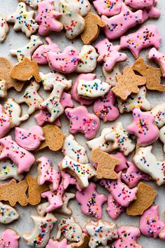 Recipe for kid-friendly homemade frosted animal cracker cookies with sprinkles! Mini cookies with icing and sprinkles on sallysbakingaddiction.com