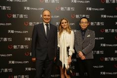 Mei.com CEO Thibault Villet, Olivia Palermo and Mei.com President Seamon Shi in Shanghai on March 30, 2016