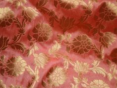 Silk Brocade Fabric by the yard Salmon Pink Gold, Banarasi Fabric, Wedding Dress Fabric, Indian Blended Silk, Benarasi costume fabric