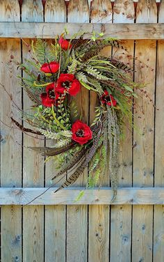 Grapevine Wreath with Pheasant Feathers and Red Poppies, Southwestern Style Wreath, Feather Wreath, by SweetLilysGarden on Etsy Feather Wreath, Feather Crafts, Door Wreaths, Grapevine Wreath, Pheasant Feathers, Turkey Feathers, Wreath Crafts, Wreath Ideas, Red Berries