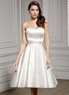 A Line Princess Sweetheart Knee Length Satin Wedding Dress With Beading Sequins 002056490 Dresses Under 100reception