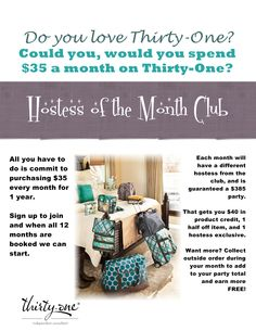 12 months of Hostess of the Month! Great idea for Thirty-One Addicts!