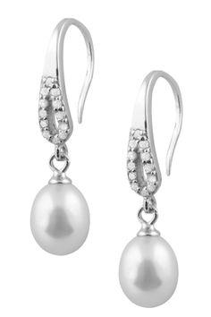 7.5-8mm Freshwater Pearl & CZ Drop Earrings