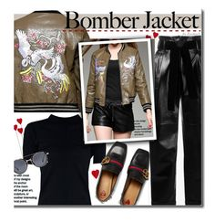 Bomber Jacket by beebeely-look on Polyvore featuring philosophy, Gucci, StreetStyle, gucci, bomberjackets, embroidery and dezzal