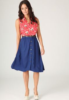 Paulie Button Front Mid Length Skirt