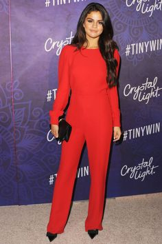 Selena Gomez in Valentino at the Variety and Women in Film Emmy Nominee Celebration - the classic Valentino red jumpsuit gives Selena a statuesque look Selena Gomez Red Carpet, Selena Gomez Style, Celebrity Look, Celebrity Dresses, Elie Saab, Red Jumpsuit, Glamour, Red Carpet Looks, Red Carpet Dresses