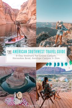 6 Day Itinerary road trip Vegas to Grand Canyon, Zion, Horseshoe Bend, Antelope Canyon. Travel Guide & Tips for Grand Canyon Hotels, Angel's Landing Hike.
